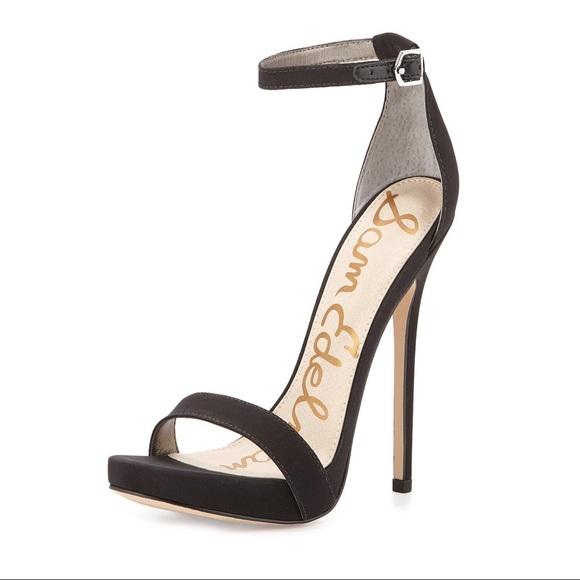 dda67b6f05b0 Sam Edelman Black Crepe Ankle Strap Sandal Heel